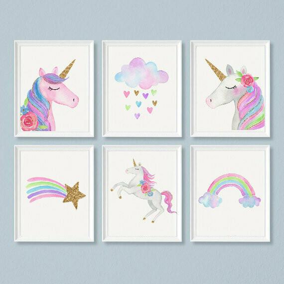 Watercolour Unicorn & Cloud Wall Art Prints - Set of 6