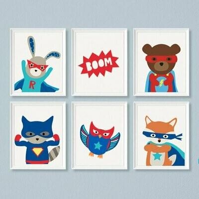 Superhero Wall Art Prints - Set of 6