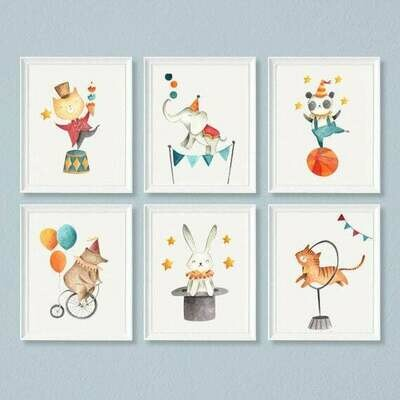 Circus Animals Watercolour Wall Art Prints - Set of 6