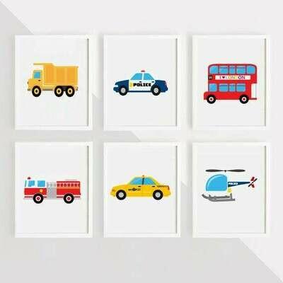 Transport Wall Art Prints - Set of 6