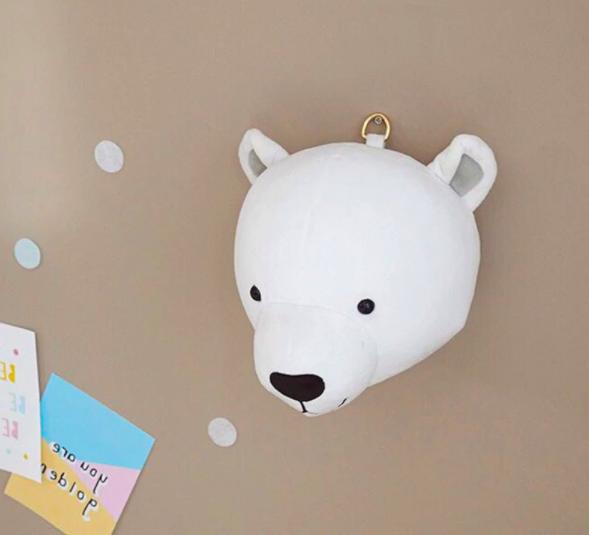 Stuffed Animal Head Wall Mount - Pola Bear