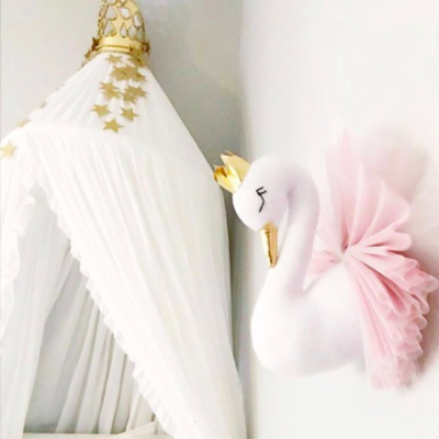 Stuffed Animal Head Wall Mount  - Pink Swan