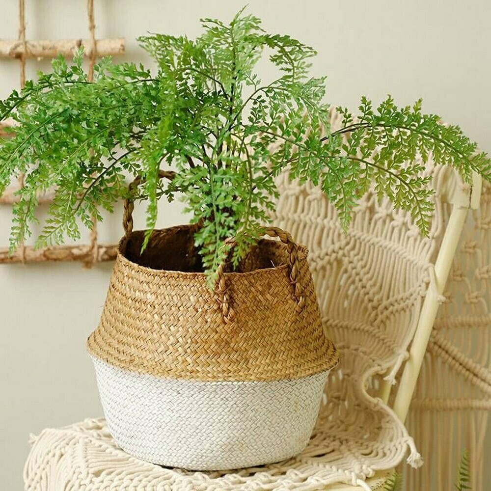 Hand Woven Seagrass Folding Storage Basket - White