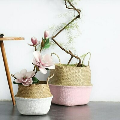 Hand Woven Seagrass Folding Storage Basket - Pink