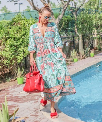 The Retro: Green & Red Floral Dress