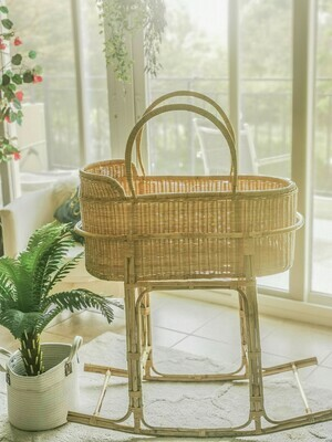 Rattan Bassinet and Rocking Stand