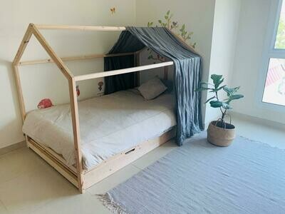 Wooden House Bed Frame with Pull Out Bed and Drawers
