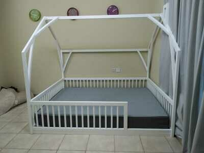 Wooden Montessori Barn House Bed Frame with Rails