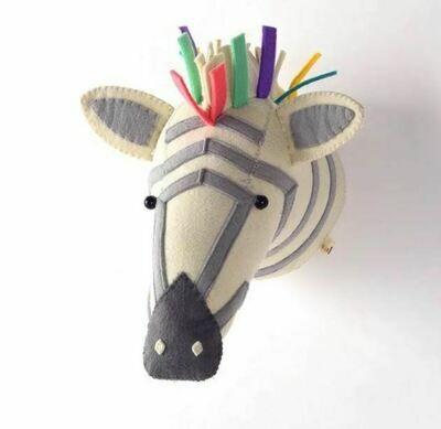 Felt Wall Animal Head - Multi-Color  Zebra