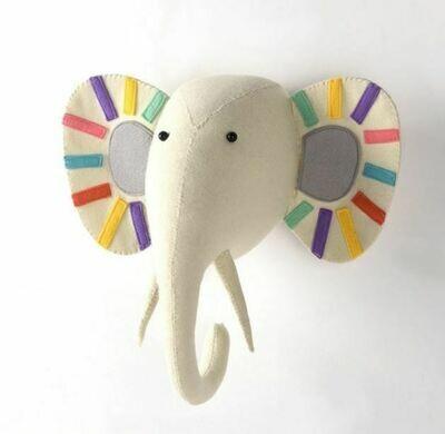 Felt Wall Animal Head - Multi-Color elephant