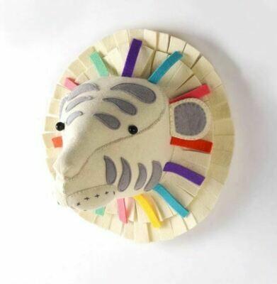 Felt Wall Animal Head - Multi-Color Tiger