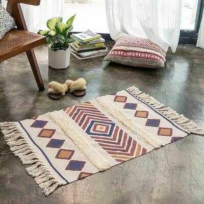 Handmade Brans Nordic Style Floor Rug with Tassels