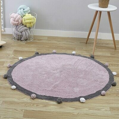 Childrens Round Playmat with Pom Poms - Deep Purple