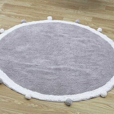 Childrens Round Playmat with Pom Poms - Light Grey