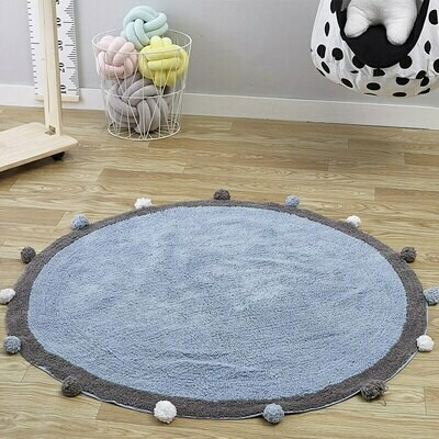 Childrens Round Playmat with Pom Poms - Dark Grey