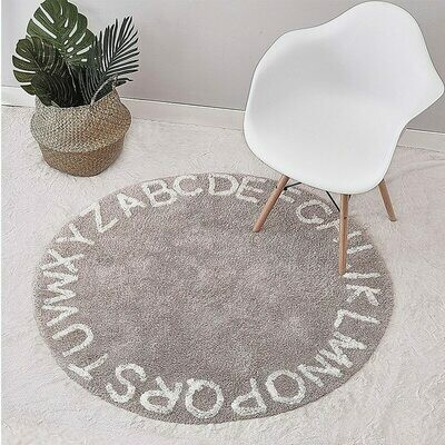 Alphabet Childrens Round Playmat - Grey