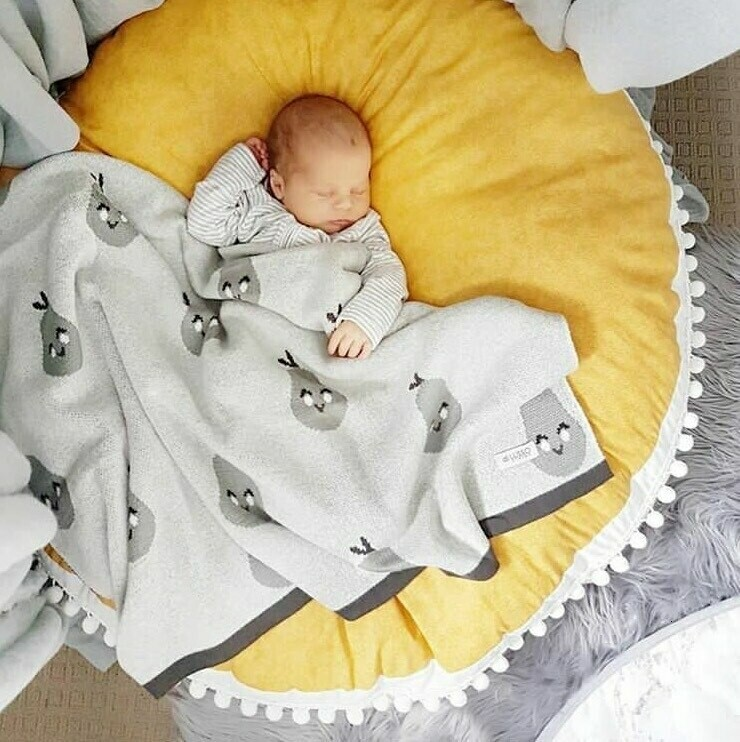 Nordic Grey Play Mat/Floor Cushion with Pom Poms - Yellow