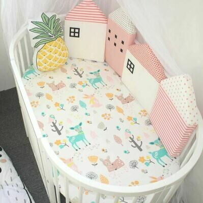 Pink House Shaped - Baby Crib Bumper and Cushion - 4 Piece Set