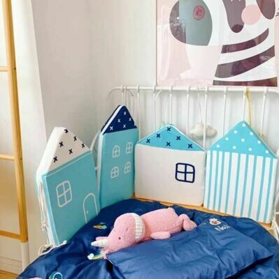Blue House Shaped - Baby Crib Bumper and Cushion - 4 Piece Set
