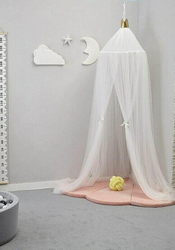 Hand Made Plush Netted Canopy - White