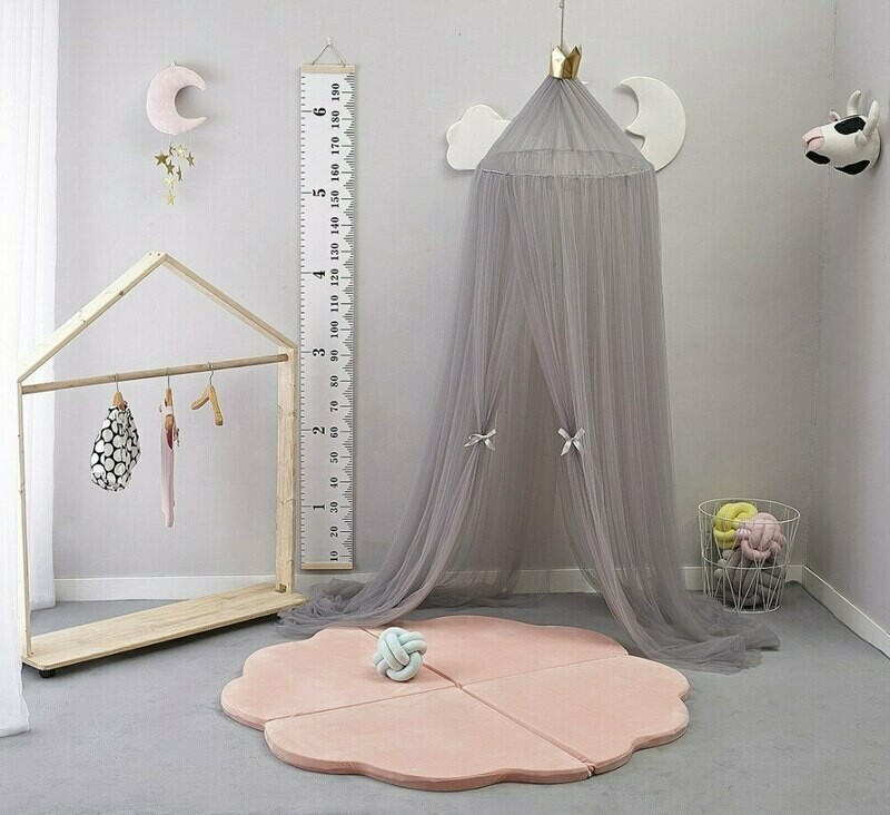 Hand Made Plush Netted Canopy - Grey