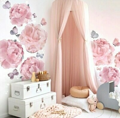 Hand Made Plush Netted Canopy - Blush Pink