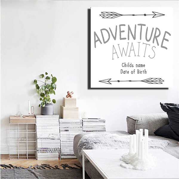 """""""Adventure Awaits"""" Quote Print and Frame"""