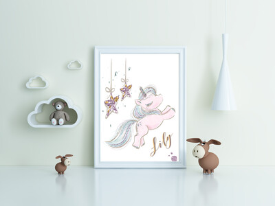 """""""Lily - Unicorn"""" Print and Frame - Personalized"""