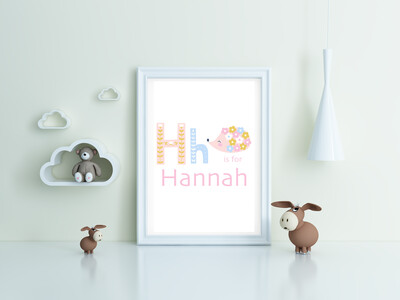 """""""H is for Hannah"""" Print and Frame - Personalized"""