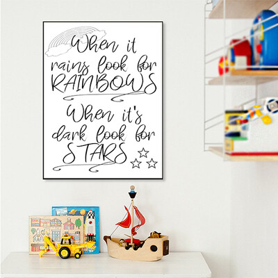 """""""When it rains look for rainbows"""" Quote Print and Frame"""