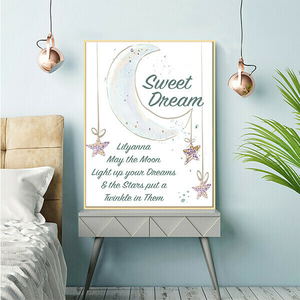"""""""Sweet Dreams with Moon"""" Quote Print and Frame - Personalized"""