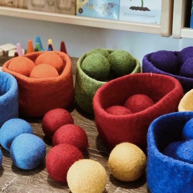 Felt Rainbow Balls - 56 Piece Set