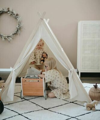 Natural Cotton & Pine Wood TeePee Tent