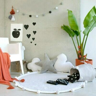 Childrens Round Playmat with Pom Poms - Light Grey