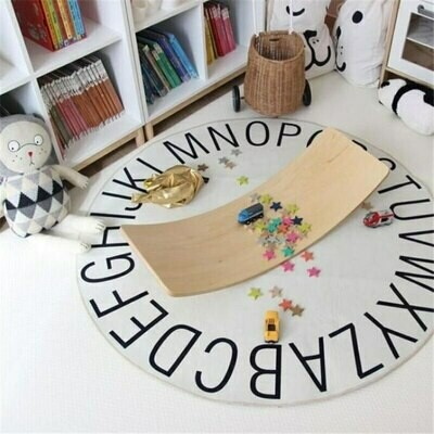 Alphabet Childrens Round Playmat - White