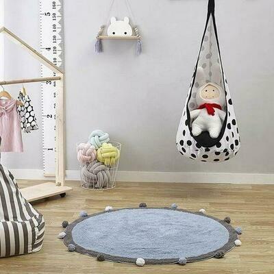 Childrens Round Playmat with Pom Poms - Dark Grey