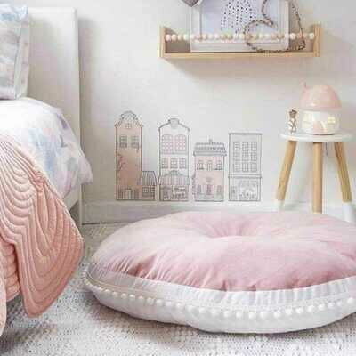 Nordic Grey Play Mat/Floor Cushion with Pom Poms - Pink