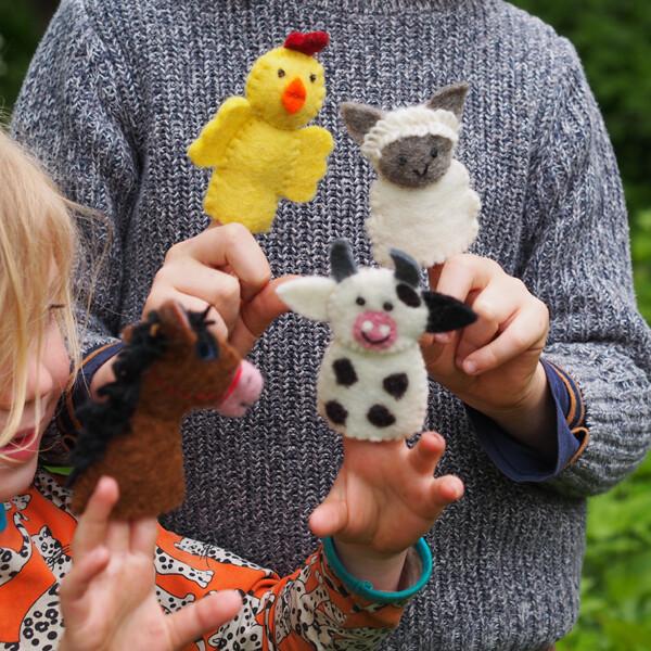 Felt Farm Animal Finger Puppets (4 Pieces)