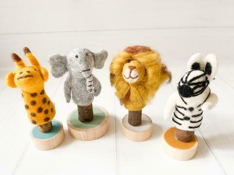 Felt African Animal Finger Puppets - 4 Piece Set