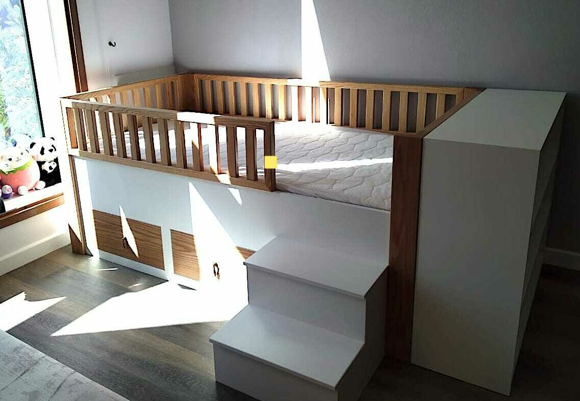 Olga Raised Birch Bed with Rails, Extra Storage, and Steps