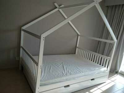 Wooden House Bed Frame with Storage & Half Rails