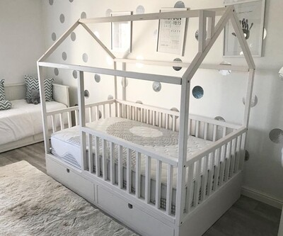 Wooden House Bed Frame with Storage & Rails