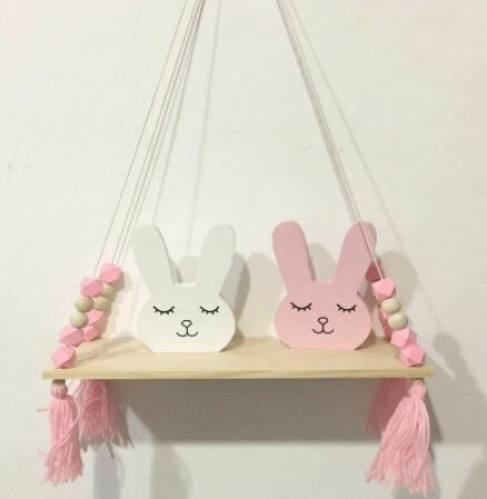 Wooden Shelf with Beads & Tassel Decor - Pink