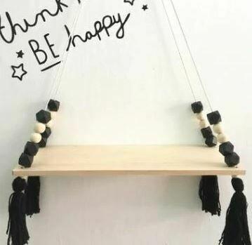 Wooden Shelf with Beads & Tassel Decor - Black