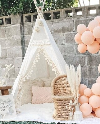 White Cotton Canvas Teepee Tent - Lace and Pom Pom Detail