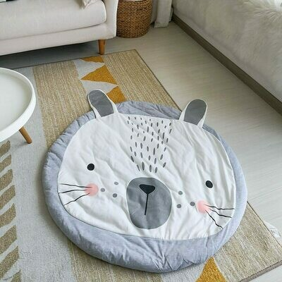 Round Play Mat for Baby Gym and Room Decor - Grey Rabbit