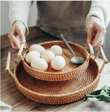 Rattan Hand-Woven Storage Basket/Tray