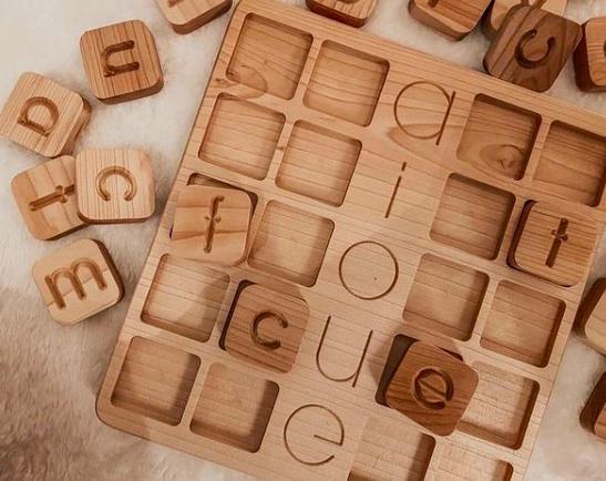 Wooden Lowercase Alphabet Cube Set (a-z)