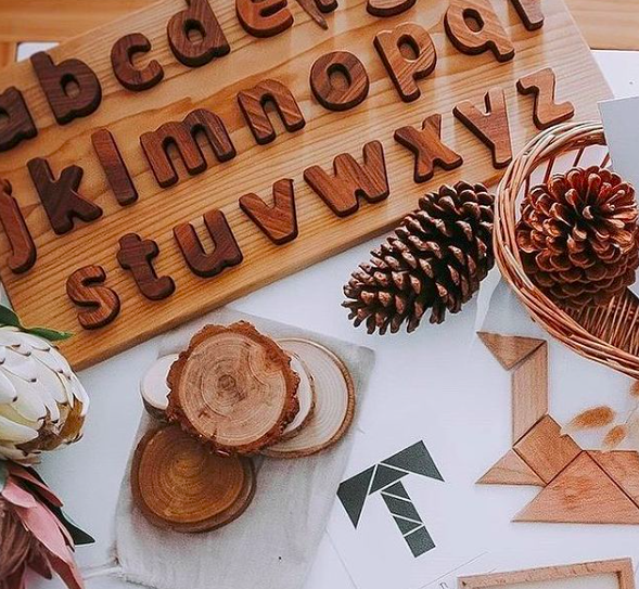 Natural Alphabet Board and Letters (Lowercase)