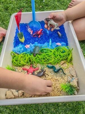 Seaside Water Beads and Rice Sensory Tray